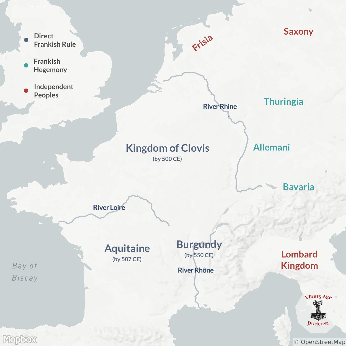 Map of Merovingian Frankish Conquests