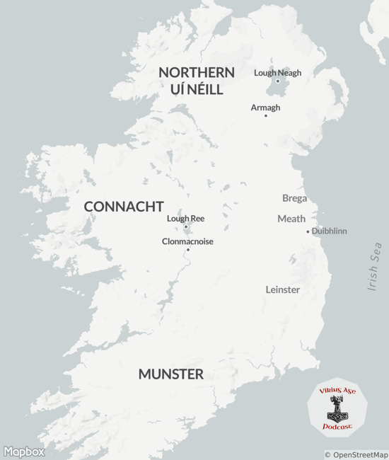 Map of Viking Raids on Ireland between 838 and 842 CE