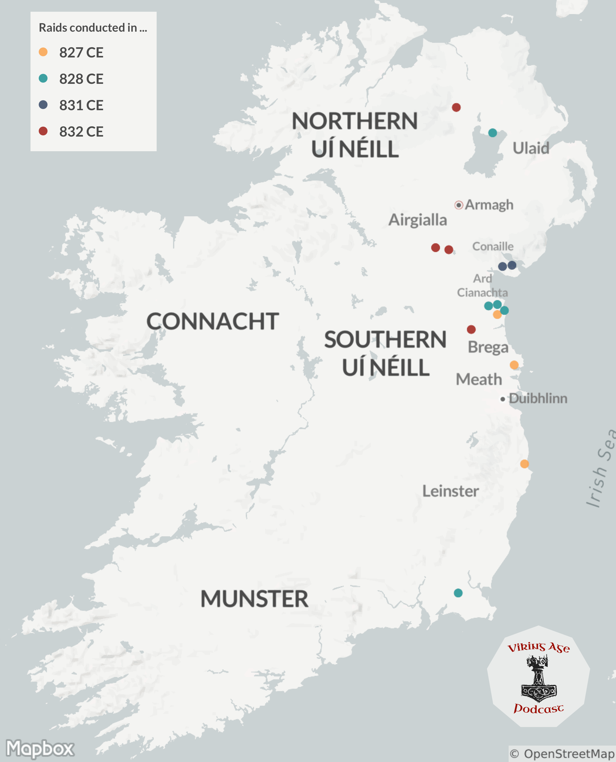 Map of Viking Raids on Ireland between 827 and 832 CE