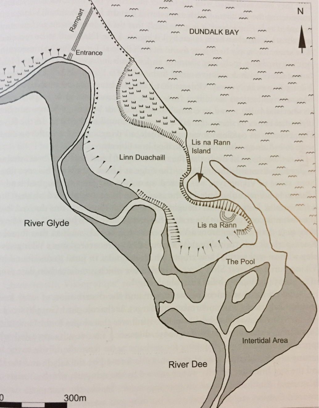 Map of longphort at Linn Duachaill