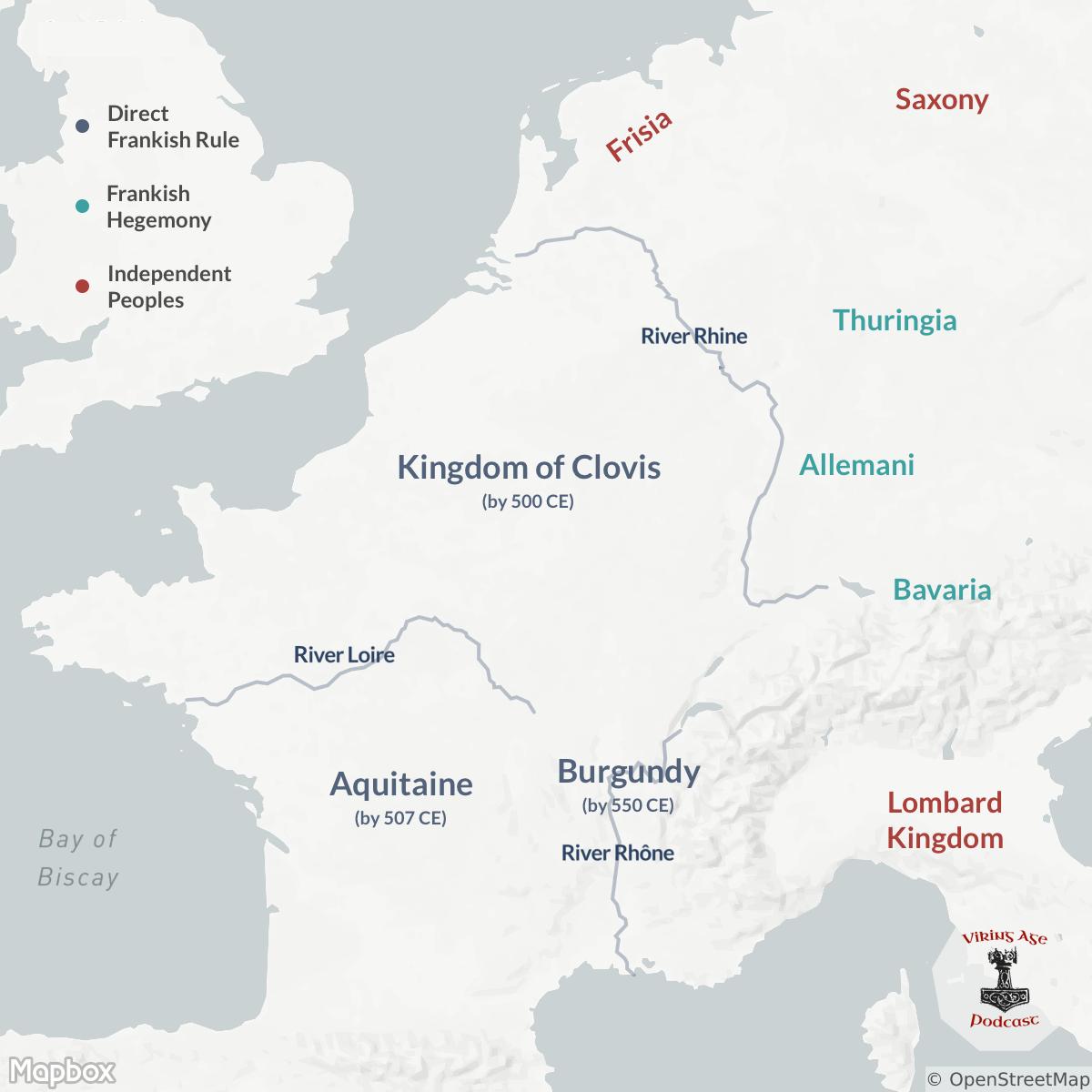 Map of Merovingian Frankish Conquests