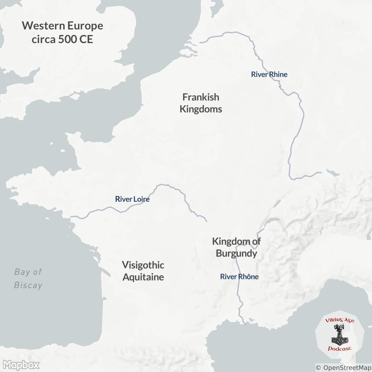 Map of Western Europe Circa 500 CE